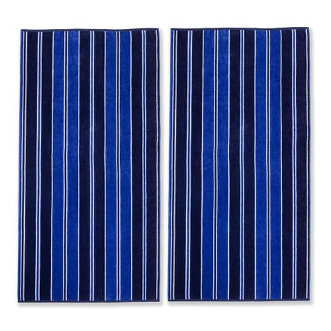 Superior Oversized Stripe Cotton Jacquard Beach Towel (Set of 2)
