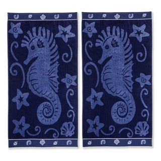 Superior Oversized Seahorse Cotton Jacquard Beach Towel (Set of 2)