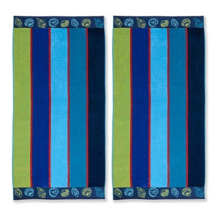 Superior Collection Oversized Sea Shell Cotton Jacquard Beach Towel (Set of 2)