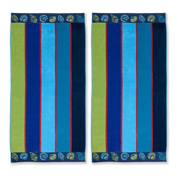 Superior Oversized Seashell Cotton Jacquard Beach Towel (Set of 2)