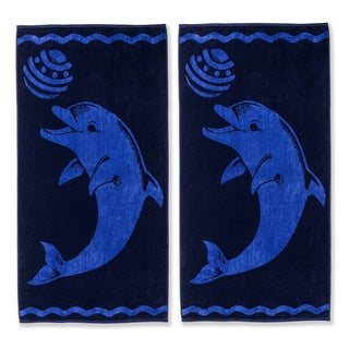 Superior Collection Oversized Playing Dolphin Cotton Jacquard Beach Towel (Set of 2)