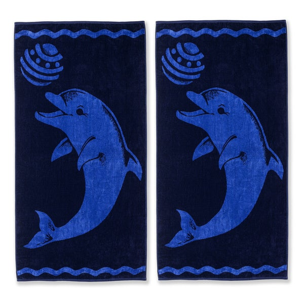 Superior Oversized Playing Dolphin Cotton Jacquard Beach Towel (Set of 2)