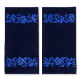 Superior Collection Oversized Beach Flower Cotton Jacquard Beach Towel (Set of 2)
