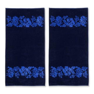 Superior Oversized Beach Flower Cotton Jacquard Beach Towel (Set of 2)