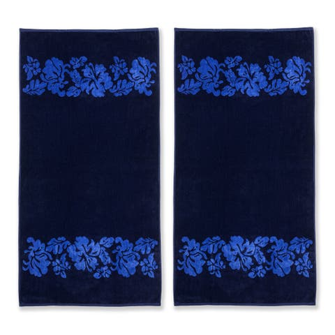 Superior Oversized Beach Flower Cotton Jacquard Beach Towel (Set of 2)