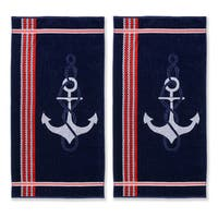 Superior Collection Oversized Anchor Cotton Jacquard Beach Towel (Set of 2)