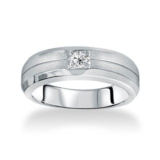 14k White Gold Men's 1/ 6ct TDW Brushed Diamond Wedding Band