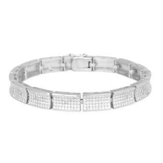 La Preciosa Sterling Silver Micro Pave Cubic Zirconia Rectangular Link Bracelet