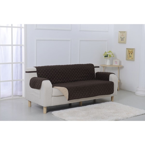 Shop Suede Microfiber Reversible Quilted Sofa Furniture Protector