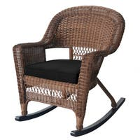Honey Rocker Wicker Chairs with Cushions (Set of 2)