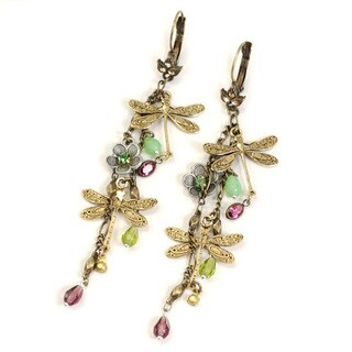 Sweet Romance Bohemian Dragonfly Flower Earrings