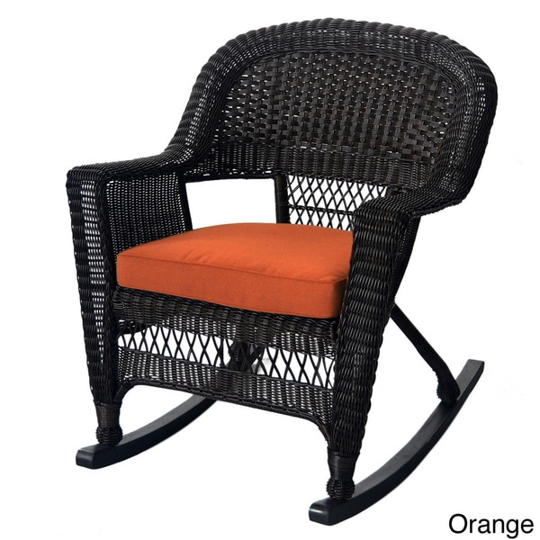 Espresso Rocker Wicker Chairs with Cushions Set of 2
