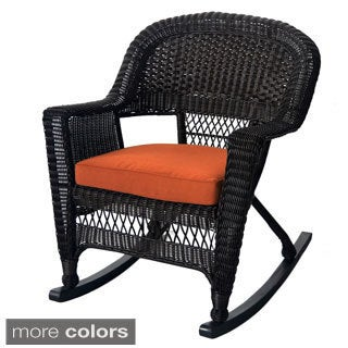 Espresso Rocker Wicker Chairs with Cushions (Set of 2)