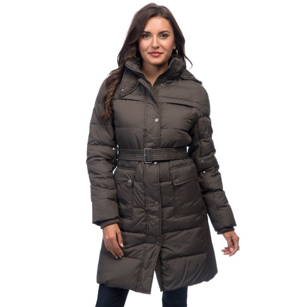 Larry Levine Women's Belted Down-filled Jacket with Removable Hood ...