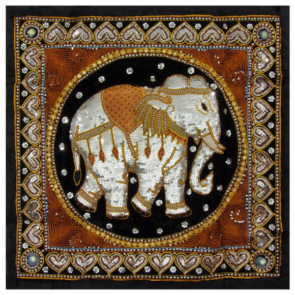 Shop Hand Embroidered Burmese Elephant Tapestry Wall