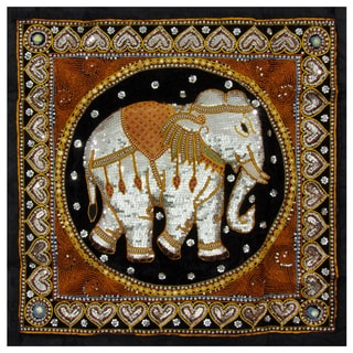 Hand-embroidered Burmese Elephant Tapestry Wall Hanging (China)