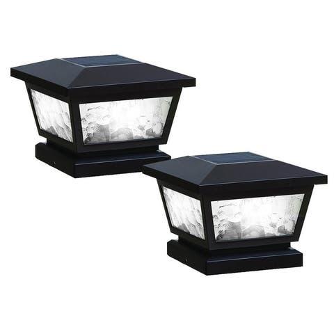 Black Fairmont Solar Post Cap (Set of 2)