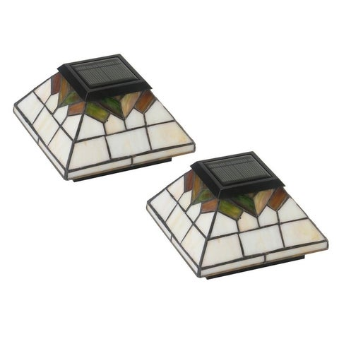 Stained Glass Wellington Solar Post Cap (Set of 2)