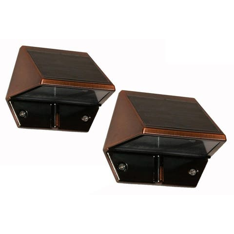 Classy Caps Copper Plated Solar Deck and Wall Light (Set of 2)