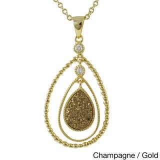 Luxiro Sterling Silver Druzy Quartz Double Teardrop Cubic Zirconia Pendant Necklace (Option: Gold Champagne)