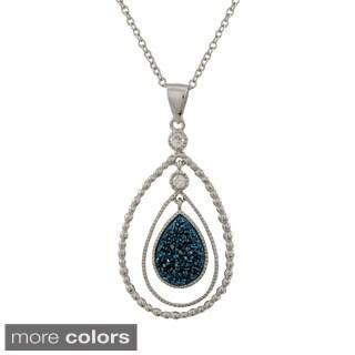 Luxiro Sterling Silver Druzy Quartz Double Teardrop Cubic Zirconia Pendant Necklace