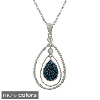 Luxiro Sterling Silver Druzy Quartz Double Teardrop Cubic Zirconia Pendant Necklace