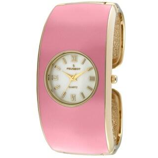 Peugeot Women's 7085PK Pink Enamel Cuff Watch