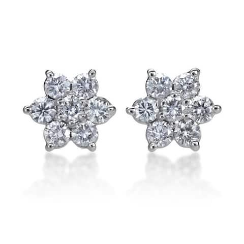 SummerRose 14k White Gold 1ct TDW Diamond Flower Stud Earrings