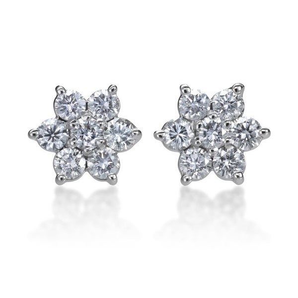21cb5a290 Shop SummerRose 14k White Gold 1ct TDW Diamond Flower Stud Earrings ...