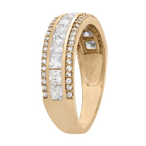 Gioelli 10k Yellow Gold 3-row Round and Square Cubic Zirconia Band