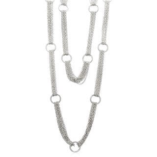 Gioelli Sterling Silver Diamond-cut O-ring Necklace