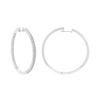 SummerRose 14k White Gold 2ct TDW Inside Out Diamond Hoop Earrings