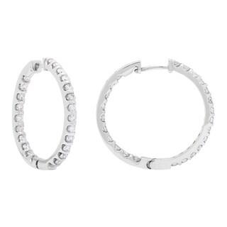 SummerRose 14k White Gold 2ct TDW Diamond Inside Out Hoop Earrings