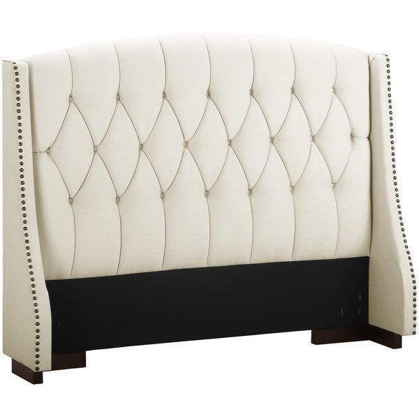 Dorel living button tufted wingback headboard with for Leather headboard designs