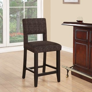 Linon Zeta Stationary Counter Stool, Jet Black Tweed Fabric