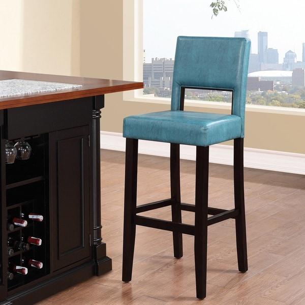 Linon Zeta Stationary Bar Stool With Ocean Blue Fabric