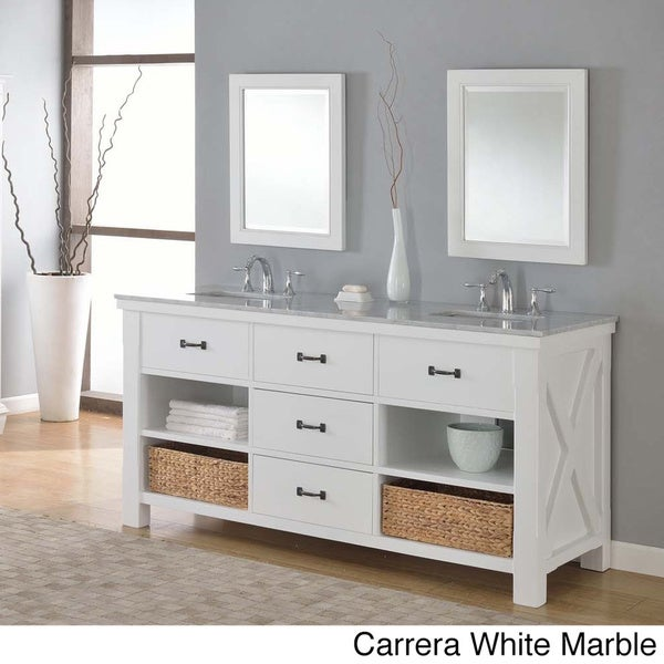 Direct Vanity 70 Inch Pearl White Xtraordinary Spa Double Vanity Sink Cabinet Free Shipping