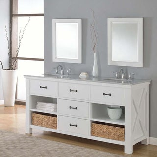 Direct Vanity 70-inch Pearl White Xtraordinary Spa Double Vanity Sink Cabinet