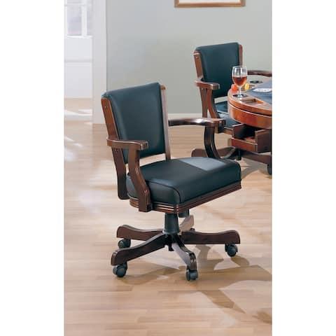 "Coaster Company Cherry Wood/ Black Vinyl Game Chair - 23"" x 25""x 33"""