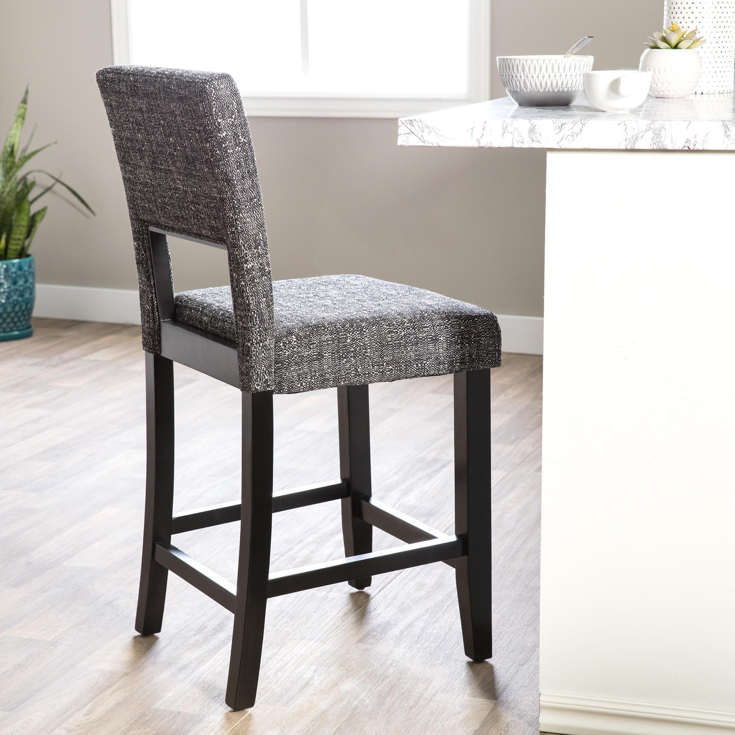 Terrific Linon Zeta Stationary Bar Stool Jet Black Tweed Fabric Unemploymentrelief Wooden Chair Designs For Living Room Unemploymentrelieforg
