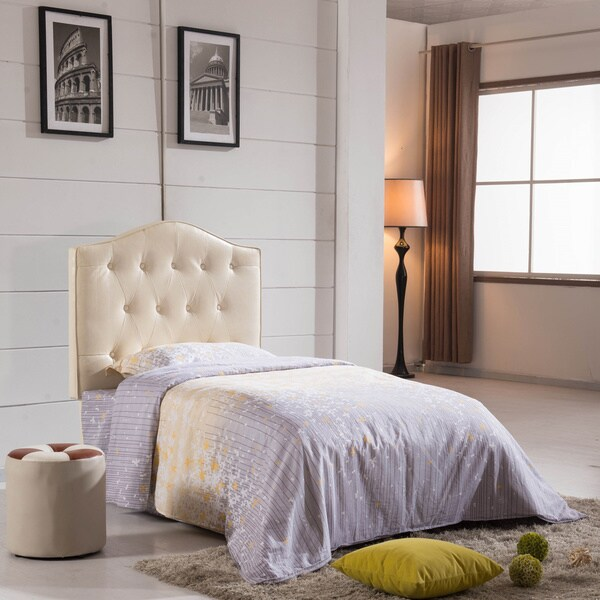 shop royal comfort collection creamy white faux leather button tufted twin size headboard on. Black Bedroom Furniture Sets. Home Design Ideas
