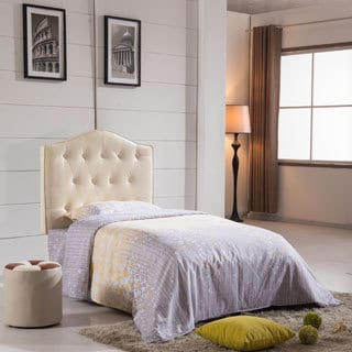 Royal Comfort Collection Creamy White Faux Leather Button Tufted Twin-size Headboard