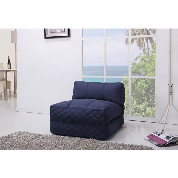 Shop Austin Blue Bean Bag Chair Bed Free Shipping Today