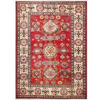 Handmade Herat Oriental Afghan Kazak Wool Rug  - 5'7 x 7'5 (Afghanistan)