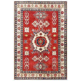 Herat Oriental Afghan Hand-knotted Kazak Red/ Ivory Wool Rug (4'5 x 6'6)