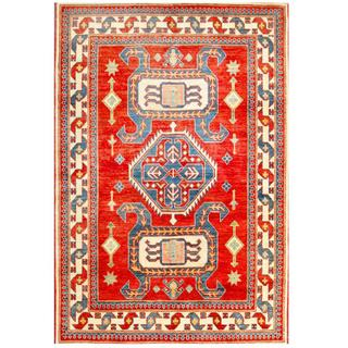 Herat Oriental Afghan Hand-knotted Kazak Red/ Ivory Wool Rug (4'4 x 6'3)
