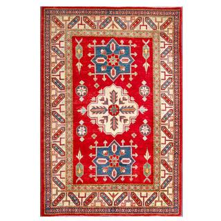 Herat Oriental Afghan Hand-knotted Kazak Red/ Ivory Wool Rug (4' x 5'11)