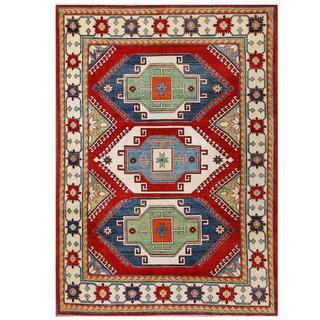 Herat Oriental Afghan Hand-knotted Kazak Red/ Ivory Wool Rug (6'8 x 8'7)