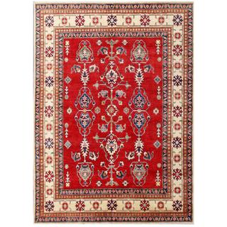 Herat Oriental Afghan Hand-knotted Kazak Red/ Ivory Wool Rug (6'7 x 8'11)