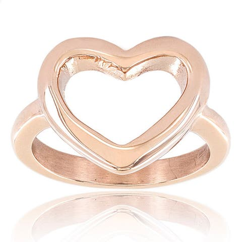 ELYA High Polish Mirror Finish Stainless Steel Open Heart Ring - 17mm Wide